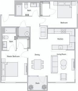 Stevens Creek 2 Bedroom Floor Plan