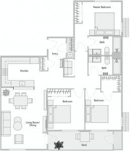 Stevens Creek 3 Bedroom Floor Plan