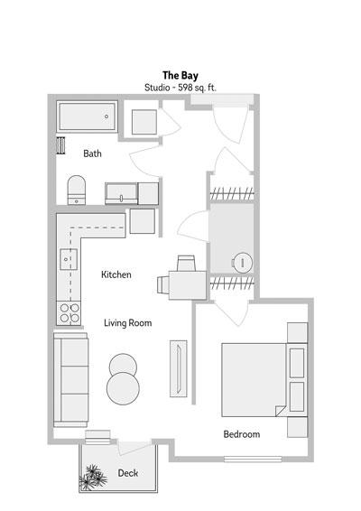 The Bay Studio Floor Plan 598 Sq.ft