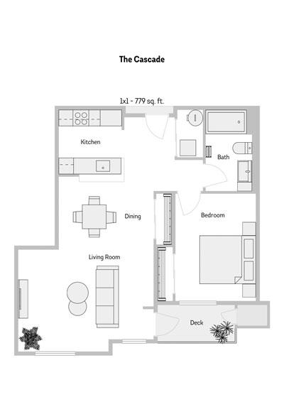The Cascade 1 Bedroom Floor Plan 779 Sq.ft