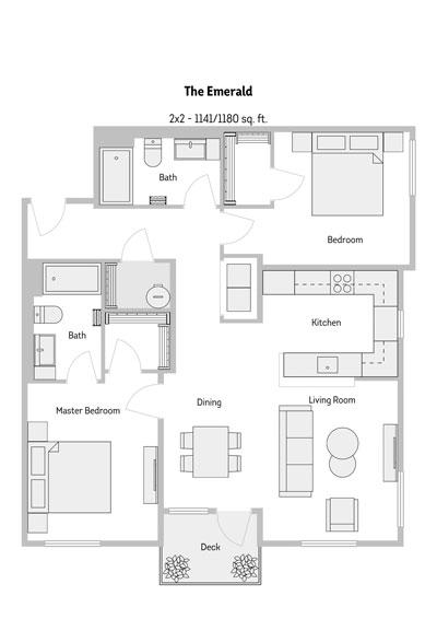 The Emerald 2 Bedroom Floor Plan 1141-1180 Sq.ft