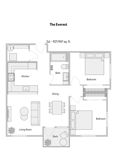 The Everest 2 Bedroom Floor Plan 927-947 Sq.ft