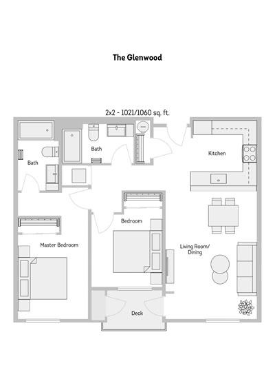 The Glenwood 2 Bedroom Floor Plan 1021-1060 Sq.ft