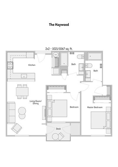 The Haywood 2 Bedroom Floor Plan 1021-1067 Sq.ft