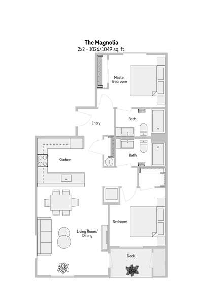 The Magnolia 2 Bedroom Floor Plan 1026-1049 Sq.ft