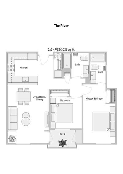 The River 2 Bedroom Floor Plan 982-1021 Sq.ft
