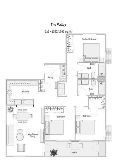 The Valley 3 Bedroom Floor Plan 1322-1345 Sq.ft